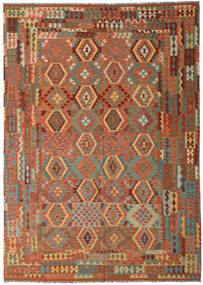 Kilim Afghan Old Style Rug 248X350 Authentic  Oriental Handwoven Crimson Red/Dark Brown (Wool, Afghanistan)