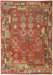 Kilim Afghan Old Style Rug 242X348 Authentic  Oriental Handwoven Rust Red/Brown (Wool, Afghanistan)