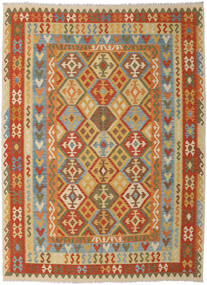 Kelim Afghan Old Style Matta 260X348 Äkta Orientalisk Handvävd Mörkbeige/Ljusbrun Stor (Ull, Afghanistan)