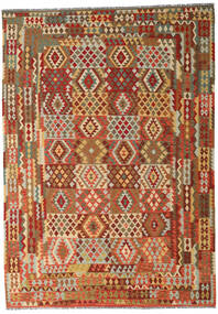 Kilim Afghan Old Style Rug 246X352 Authentic  Oriental Handwoven Dark Beige/Brown (Wool, Afghanistan)