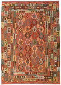 Kilim Afghan Old Style Rug 249X349 Authentic  Oriental Handwoven Crimson Red/Olive Green (Wool, Afghanistan)