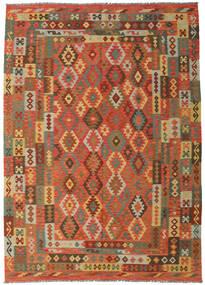 Kelim Afghan Old Style Matta 249X349 Äkta Orientalisk Handvävd Röd/Olivgrön (Ull, Afghanistan)