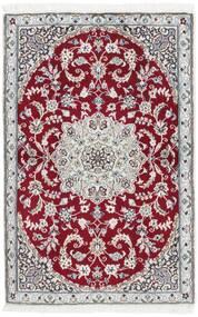 Nain 9La Teppich 92X140 Echter Orientalischer Handgewebter Hellgrau/Dunkelrot (Wolle/Seide, Persien/Iran)