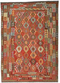 Kelim Afghan Old Style Matta 246X349 Äkta Orientalisk Handvävd Roströd/Mörkgrå (Ull, Afghanistan)