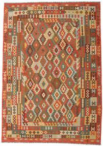 Kelim Afghan Old Style Matta 248X351 Äkta Orientalisk Handvävd Brun/Mörkbeige (Ull, Afghanistan)