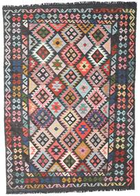 Kilim Afgan Old Style Dywan 162X242 Orientalny Tkany Ręcznie Czarny/Jasnoróżowy (Wełna, Afganistan)