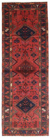 Hamadan Rug 100X282 Authentic  Oriental Handknotted Hallway Runner  Dark Red/Dark Brown (Wool, Persia/Iran)