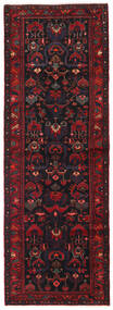 Hamadan Rug 111X321 Authentic Oriental Handknotted Hallway Runner Dark Brown/Dark Red (Wool, Persia/Iran)