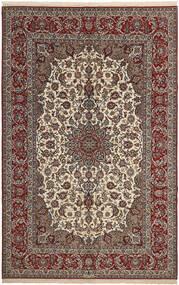Isfahan Zijden Pool Vloerkleed 202X310 Echt Oosters Handgeweven Donkerbruin/Donkerrood (Wol/Zijde, Perzië/Iran)