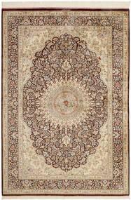 Qom Mătase Covor 134X196 Orientale Lucrate De Mână Bej/Maro (Mătase, Persia/Iran)
