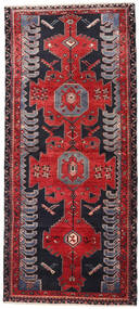 Hamadan Rug 122X278 Authentic  Oriental Handknotted Hallway Runner  Black/Crimson Red (Wool, Persia/Iran)