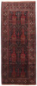 Belutsch Teppich 115X272 Echter Orientalischer Handgeknüpfter Läufer Dunkelrot/Schwartz (Wolle, Persien/Iran)