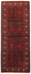 Beluch Vloerkleed 114X280 Echt Oosters Handgeknoopt Tapijtloper Donkerrood/Donkerbruin (Wol, Perzië/Iran)