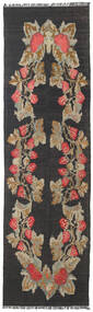 Rose Kelim Moldavia Rug 85X288 Authentic  Oriental Handwoven Hallway Runner  Dark Grey/Light Brown (Wool, Moldova)