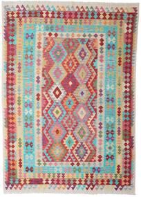 Kilim Afgan Old Style Dywan 205X289 Orientalny Tkany Ręcznie Ciemnobeżowy/Jasnoszary (Wełna, Afganistan)