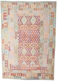 Kelim Afghan Old Style Teppich  202X298 Echter Orientalischer Handgewebter Hellgrau/Beige (Wolle, Afghanistan)