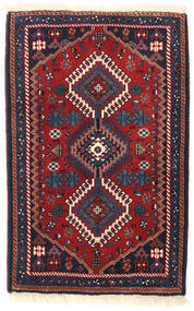 Yalameh Teppich 64X98 Echter Orientalischer Handgeknüpfter Dunkelrot/Schwartz (Wolle, Persien/Iran)