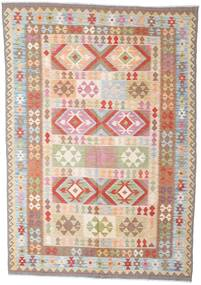 Kilim Afghan Old Style Rug 210X299 Authentic  Oriental Handwoven Beige/Light Pink (Wool, Afghanistan)