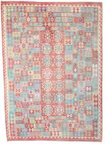 Kelim Afghan Old Style Teppich 210X295 Echter Orientalischer Handgewebter Hellgrau/Hellrosa (Wolle, Afghanistan)