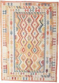 Kilim Afgan Old Style Dywan 211X294 Orientalny Tkany Ręcznie Beżowy/Ciemnobeżowy (Wełna, Afganistan)