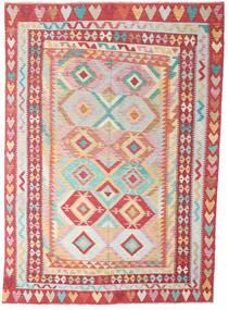Kelim Afghan Old Style Matto 204X287 Itämainen Käsinkudottu Ruoste/Beige/Vaaleanpunainen (Villa, Afganistan)