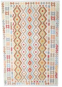 Kilim Afgan Old Style Dywan 202X302 Orientalny Tkany Ręcznie Beżowy/Ciemnobeżowy (Wełna, Afganistan)