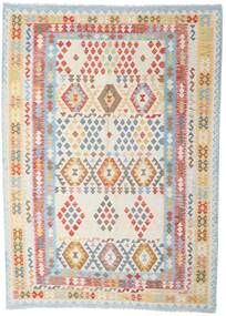 Kilim Afghan Old Style Rug 208X288 Authentic  Oriental Handwoven Light Grey/White/Creme (Wool, Afghanistan)