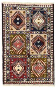 Yalameh Teppich 64X95 Echter Orientalischer Handgeknüpfter Dunkelbraun/Schwartz (Wolle, Persien/Iran)
