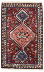 Yalameh Szőnyeg 56X88 Keleti Csomózású Sötétpiros/Sötétlila (Gyapjú, Perzsia/Irán)