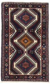 Yalameh Matta 62X102 Äkta Orientalisk Handknuten Svart/Mörkröd (Ull, Persien/Iran)