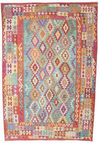 Kilim Afghan Old Style Tappeto 200X293 Orientale Tessuto A Mano Ruggine/Rosso/Verde Chiaro (Lana, Afghanistan)