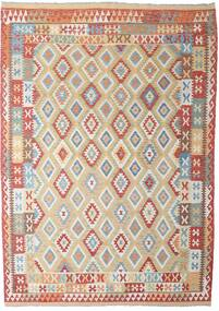 Kilim Afghan Old Style Rug 206X294 Authentic  Oriental Handwoven Light Grey/Dark Red (Wool, Afghanistan)