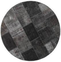 Patchwork - Persien/Iran Matto Ø 150 Moderni Käsinsolmittu Pyöreä Tummanharmaa/Musta (Villa, Persia/Iran)