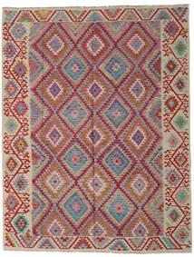 Kilim Afgán Old Style Szőnyeg 261X336 Keleti Kézi Szövésű Sötétpiros/Világosszürke Nagy (Gyapjú, Afganisztán)
