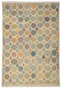 Kelim Afghan Old Style Teppich  238X348 Echter Orientalischer Handgewebter Dunkel Beige/Beige (Wolle, Afghanistan)