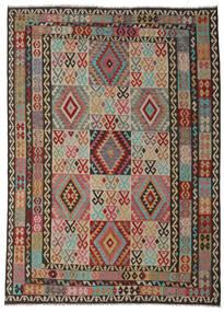 Kilim Afgán Old Style Szőnyeg 245X340 Keleti Kézi Szövésű Sötétszürke/Sötétpiros (Gyapjú, Afganisztán)