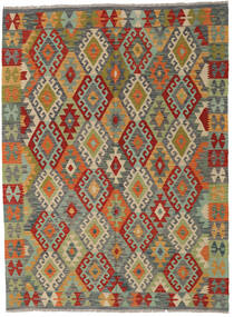 Kelim Afghan Old Style Matto 175X239 Itämainen Käsinkudottu Tummanharmaa/Oliivinvihreä (Villa, Afganistan)