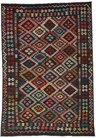 Kilim Afghan Old Style Rug 199X296 Authentic  Oriental Handwoven Black/Dark Red (Wool, Afghanistan)