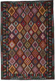 Kilim Afghan Old Style Rug 202X291 Authentic  Oriental Handwoven Black/Dark Red (Wool, Afghanistan)