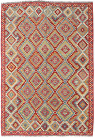 Kilim Afghan Old Style Rug 197X299 Authentic  Oriental Handwoven Dark Red/Light Grey (Wool, Afghanistan)