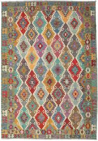 Kilim Afghan Old Style Rug 206X297 Authentic  Oriental Handwoven Light Brown/Dark Brown (Wool, Afghanistan)