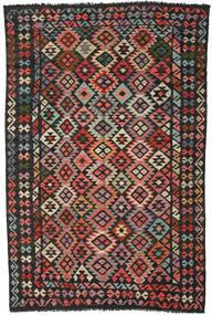 キリム アフガン オールド スタイル 絨毯 192X293 オリエンタル 手織り 黒/錆色 (ウール, アフガニスタン)