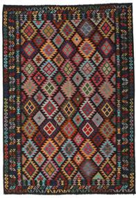 Kilim Afghan Old Style Rug 202X290 Authentic  Oriental Handwoven Black/Dark Red (Wool, Afghanistan)