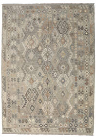 Kilim Afghan Old Style Rug 213X296 Authentic  Oriental Handwoven Light Grey/Olive Green (Wool, Afghanistan)