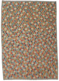 Kilim Afghan Old Style Rug 207X290 Authentic  Oriental Handwoven Olive Green/Dark Grey (Wool, Afghanistan)