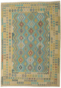 Kilim Afgán Old Style Szőnyeg 246X347 Keleti Kézi Szövésű Világoszöld/Világosbarna (Gyapjú, Afganisztán)