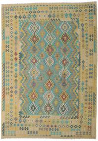 Kelim Afghan Old Style Teppe 246X347 Ekte Orientalsk Håndvevd Lysgrønn/Lysbrun (Ull, Afghanistan)