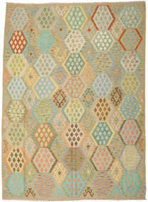 Kilim Afgán Old Style Szőnyeg 246X344 Keleti Kézi Szövésű Sötét Bézs/Pasztellzöld (Gyapjú, Afganisztán)