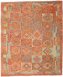 Kilim Afghan Old Style Rug 252X302 Authentic  Oriental Handwoven Crimson Red/Light Green Large (Wool, Afghanistan)
