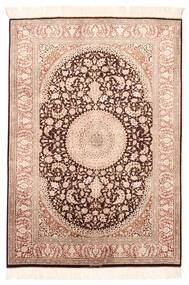 Ghom Silke Matta 100X146 Äkta Orientalisk Handvävd Mörkbrun/Ljusrosa (Silke, Persien/Iran)